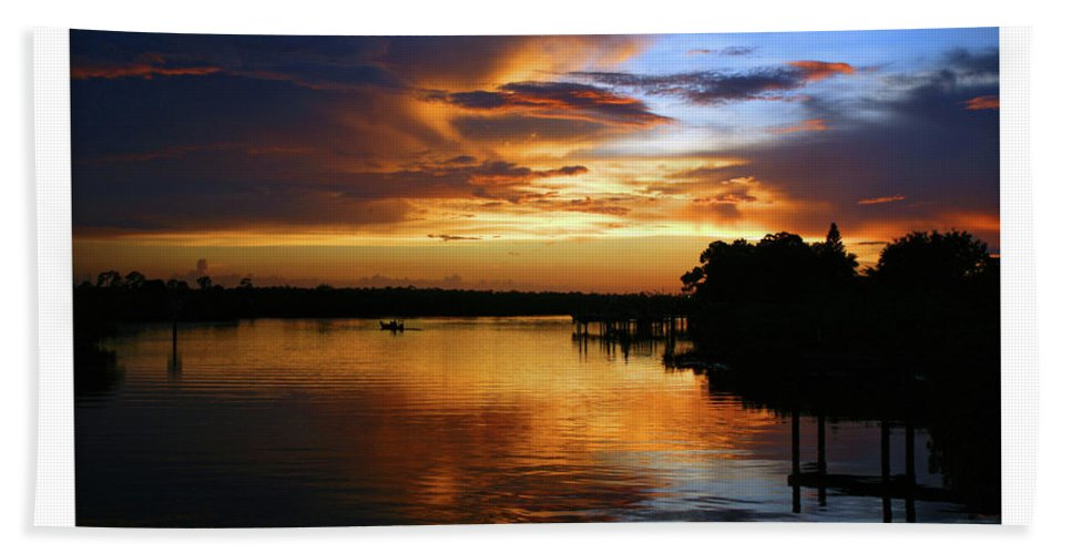 Landscape Bath Sheet featuring the photograph Braden River Sunset by Mal Bray