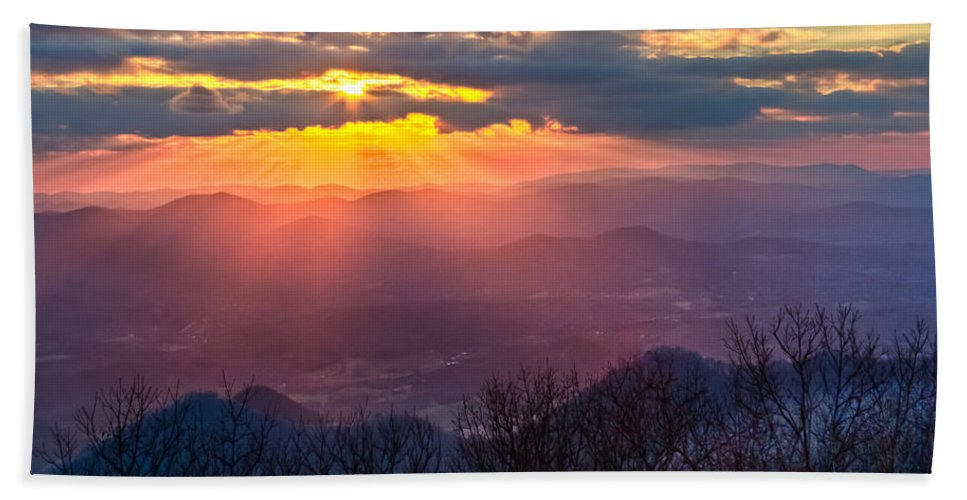 Appalachia Hand Towel featuring the photograph Brasstown Sunset by Debra and Dave Vanderlaan