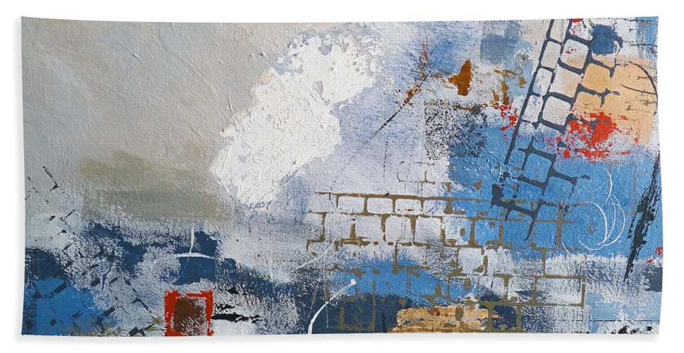 Abstract Bath Sheet featuring the painting Breaking Down Walls by Ruth Palmer
