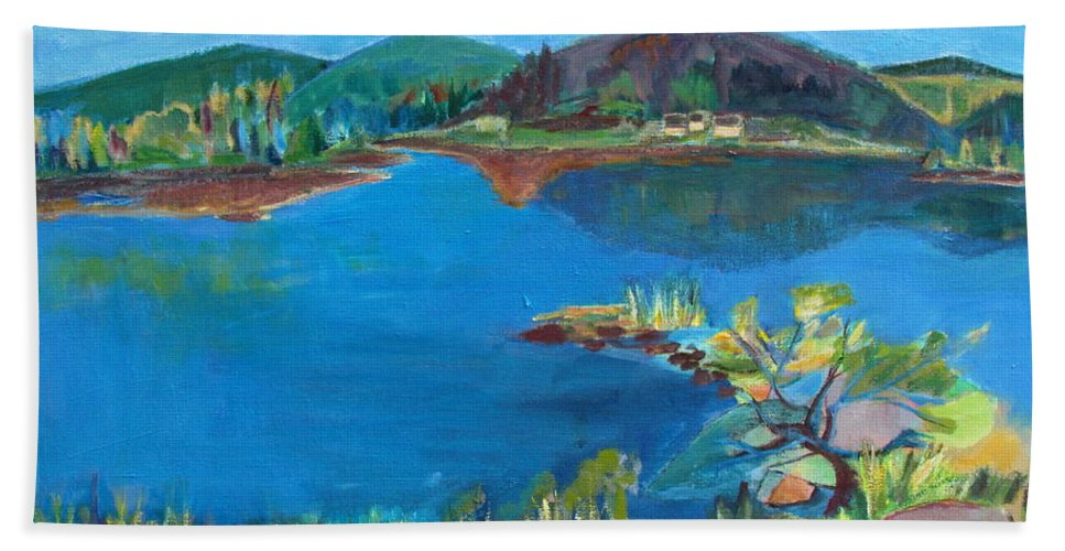 Rocks And Water Hand Towel featuring the painting Breakwater On The Great Sacandaga by Betty Pieper