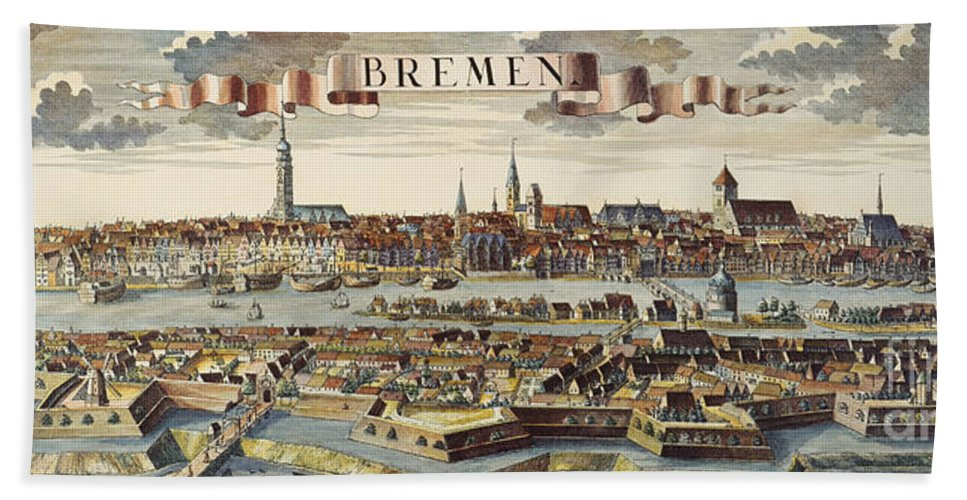 1719 Hand Towel featuring the photograph Bremen, Germany, 1719 by Granger