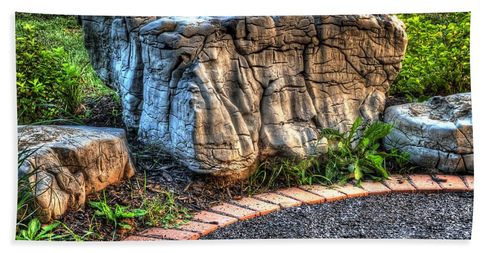 Acrylic Prints Bath Sheet featuring the photograph Brenda's Boulder At Dawn Or Altar In The Garden by John Herzog