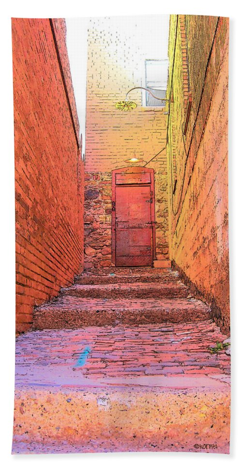 Rebecca Korpita Bath Sheet featuring the photograph Old Stairs - Bisbee Az by Rebecca Korpita