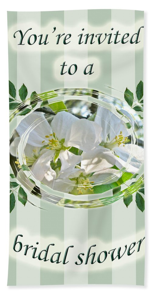 Bridal Hand Towel featuring the photograph Bridal Shower Invitation - Apple Blossoms by Mother Nature