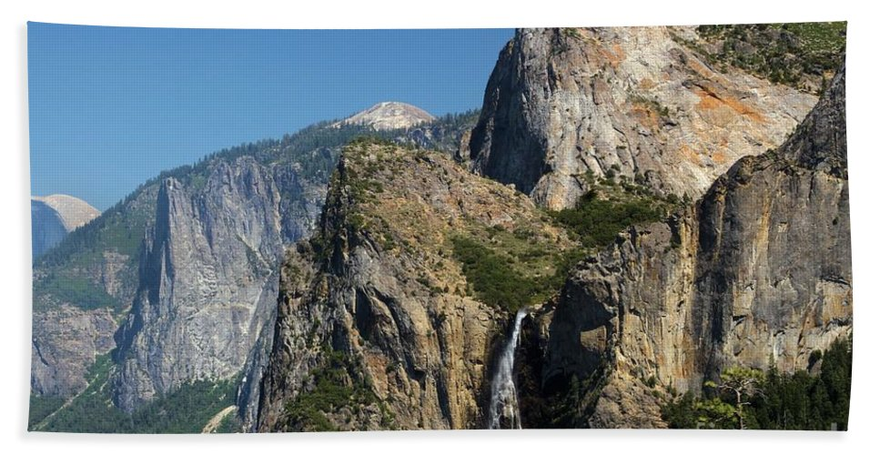 Yosemite National Park Hand Towel featuring the photograph Bridal Veil In The Distance by Adam Jewell