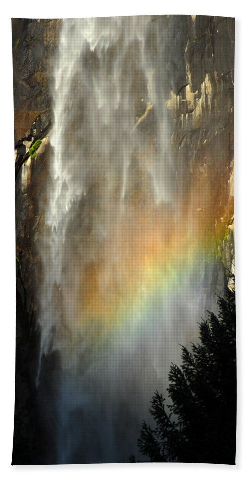 Bridal Bath Sheet featuring the photograph Bridal Veil Rainbow by Chlaus Loetscher