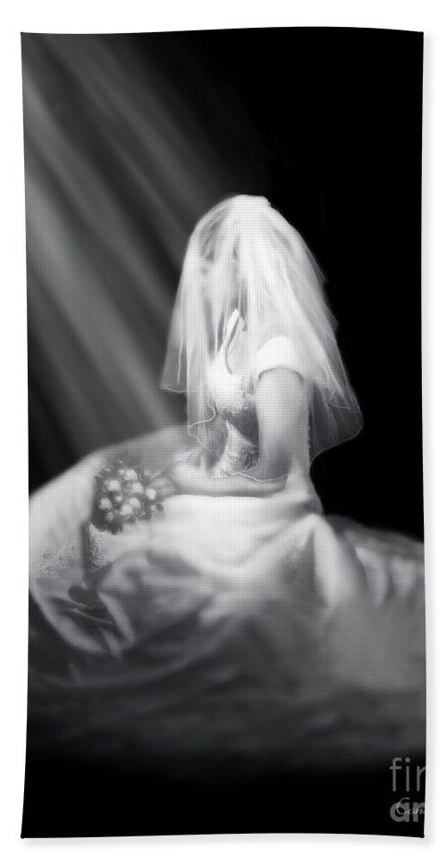 Bride Hand Towel featuring the painting Bride In Cascading Light by Constance Woods