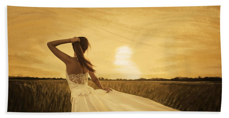 Adult Bath Sheet featuring the painting Bride In Yellow Field On Sunset by Setsiri Silapasuwanchai