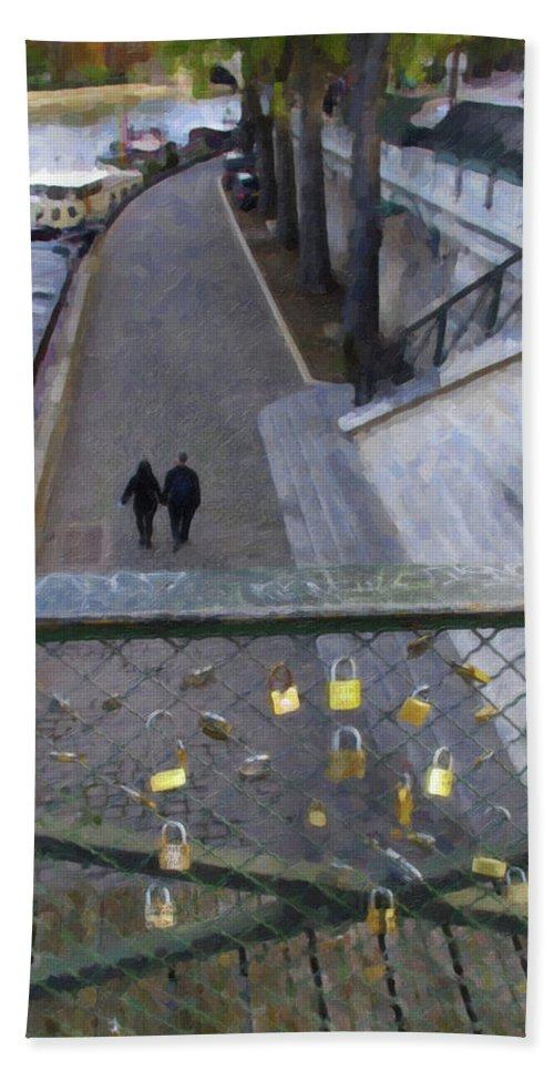 Pont Des Arts Hand Towel featuring the photograph Bridge Of Locks by Tom Reynen
