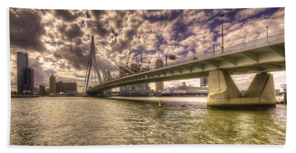 Rotterdam Hand Towel featuring the photograph Bridge Over Rotterdam by Rob Hawkins