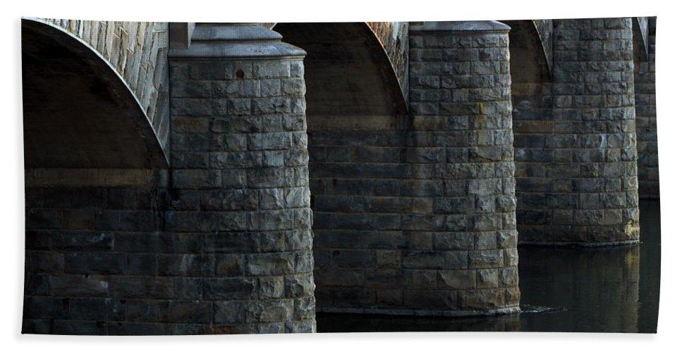 Bridge Bath Sheet featuring the photograph Bridge Pillars by Deborah Crew-Johnson