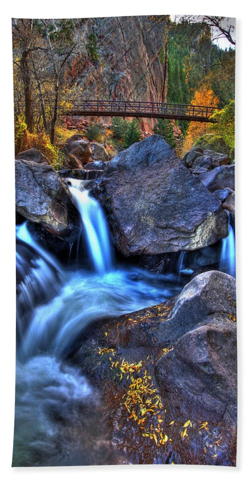 Landscape Hand Towel featuring the photograph Bridge To The Seasons by Scott Mahon