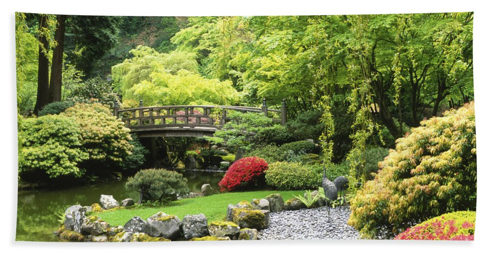 Japanese Garden Bath Sheet featuring the photograph Bridge To Tranquility by Sandra Bronstein