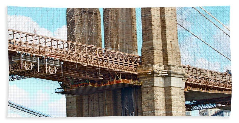Bridge Close Up New York City Water View Bath Sheet featuring the photograph Bridge View One by Alice Gipson