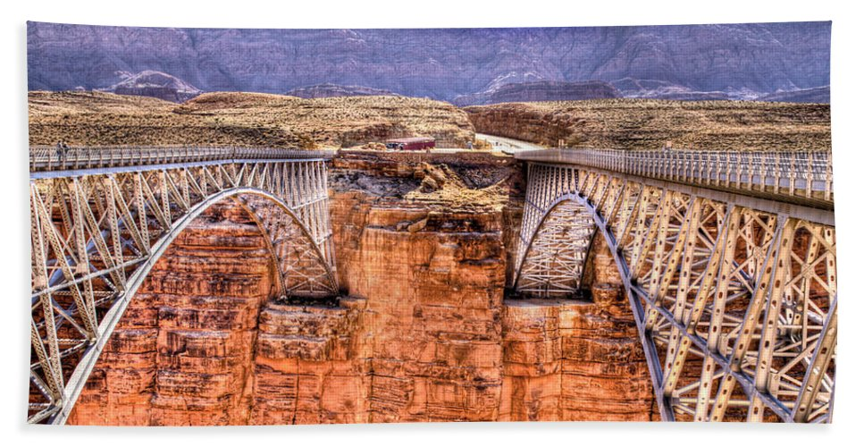 Lees Ferry Arizona Hand Towel featuring the photograph Bridges At Lees Ferry by Jon Berghoff