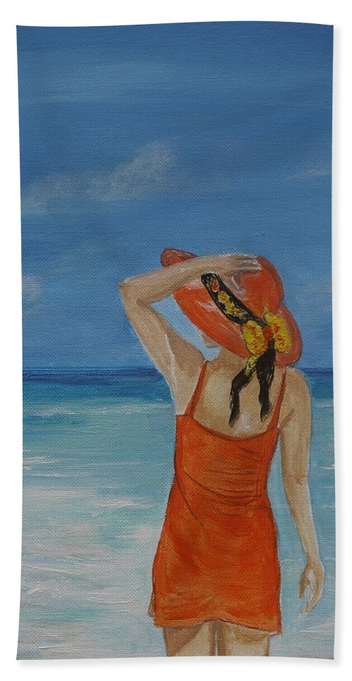 Woman Art Bath Sheet featuring the painting Bright Outlook by Leslie Allen