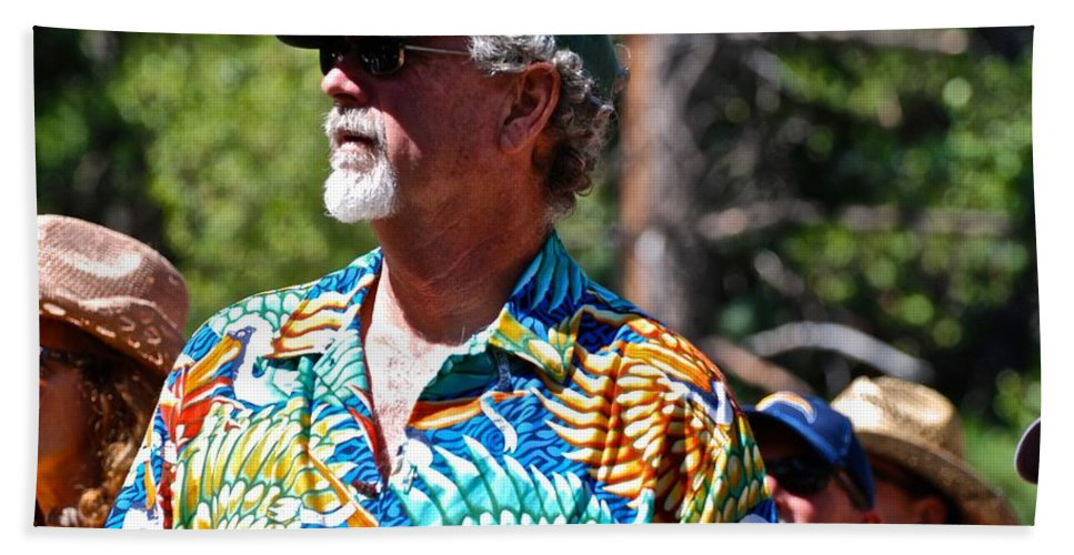 Strawberry Music Festival Hand Towel featuring the photograph Bright Shirt by Eric Tressler