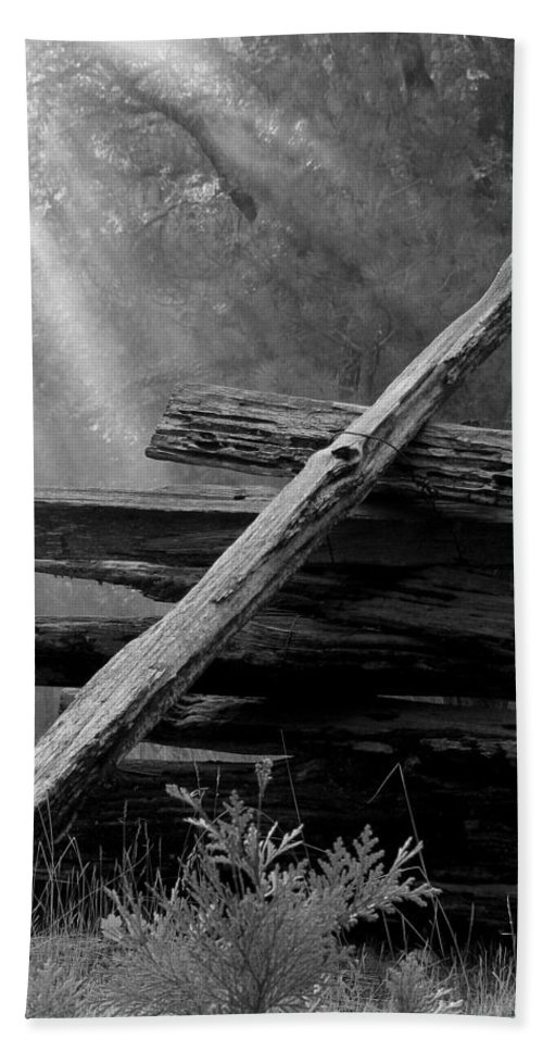 Fence Hand Towel featuring the photograph Broken Fence In Morning Light At Yosemite by Greg Matchick