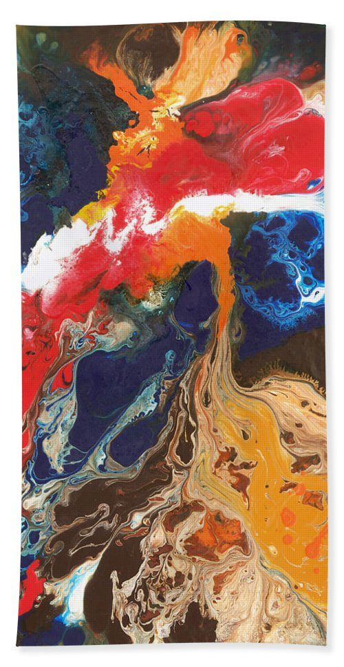 Abstract Bath Sheet featuring the painting Broken Wing by Sally Trace