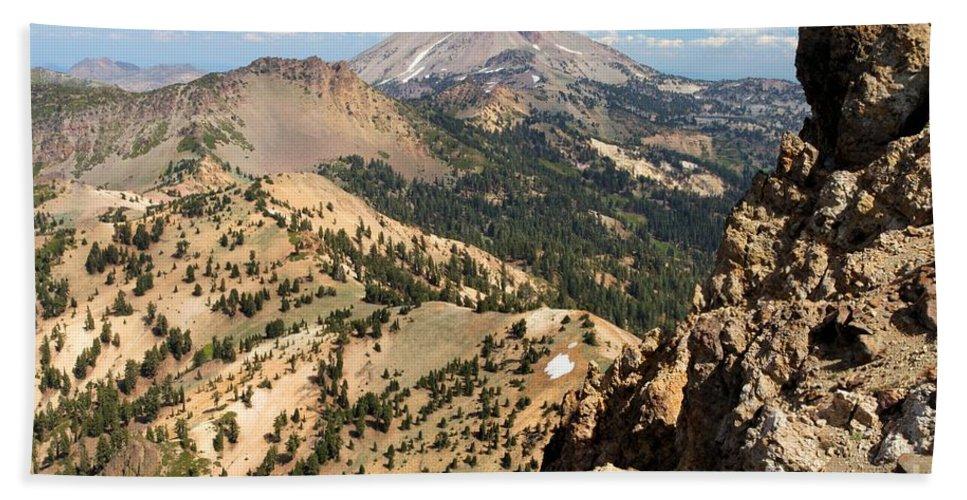 Lassen Volcanic National Park Bath Sheet featuring the photograph Brokeoff Mountain Peak by Adam Jewell
