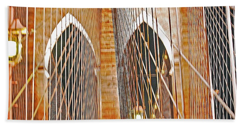 Bridge Bath Sheet featuring the photograph Brooklyn Bridge Arch by Stefa Charczenko