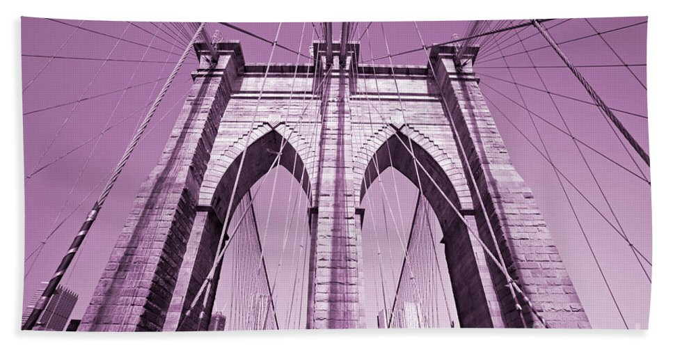 America Hand Towel featuring the photograph Brooklyn Bridge by Luciano Mortula
