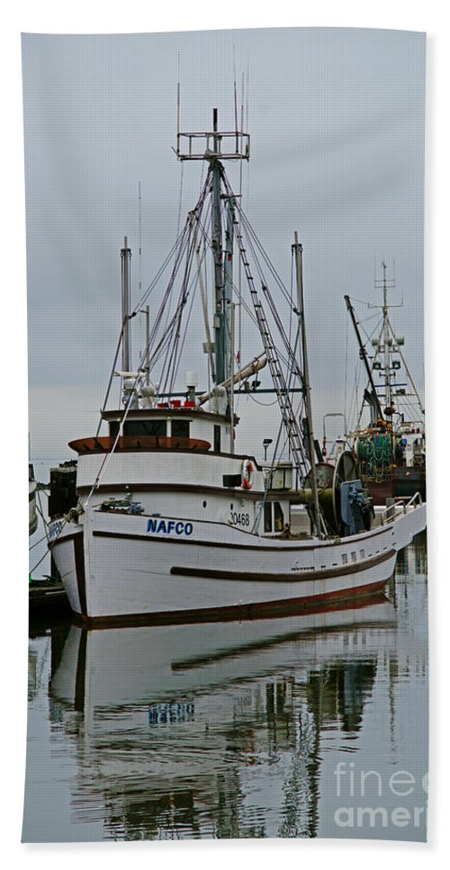Fishing Boats Bath Sheet featuring the photograph Brown And White Fish Boat by Randy Harris