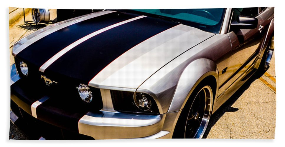 Mustang Hand Towel featuring the photograph Brushed Metal Finish by Shannon Harrington