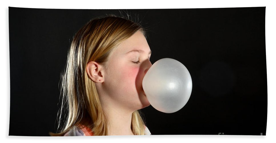 Gum Hand Towel featuring the photograph Bubblegum Bubble 2 Of 6 by Ted Kinsman