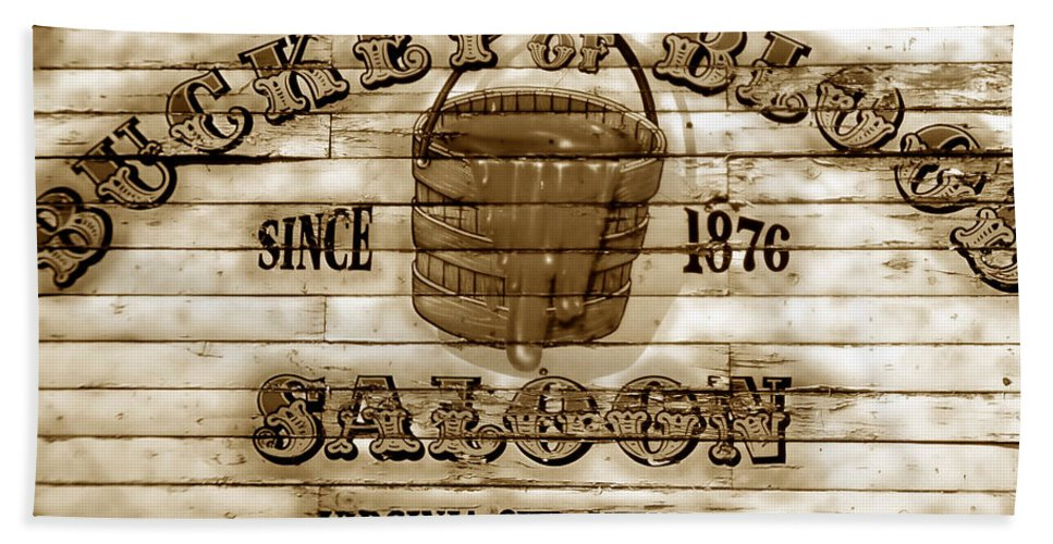 Fine Art Photography Bath Sheet featuring the photograph Bucket Of Blood Saloon by David Lee Thompson