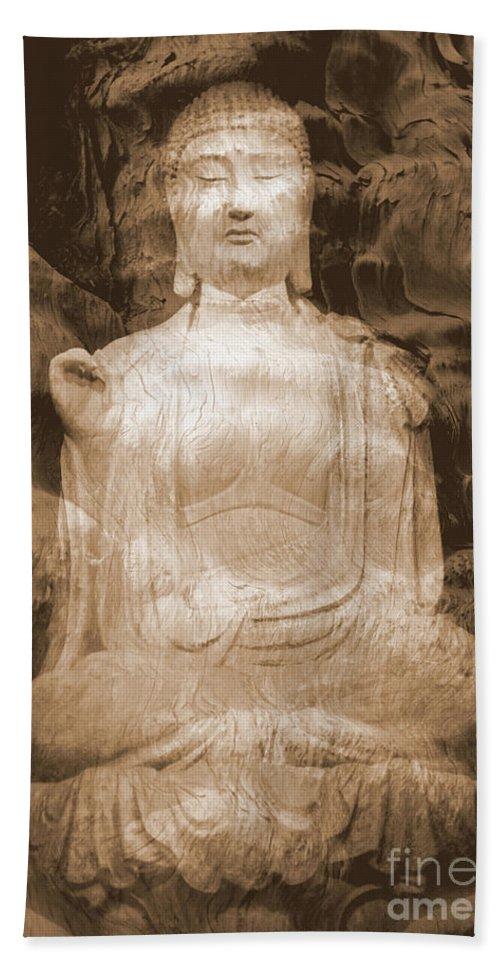 Buddha Bath Sheet featuring the photograph Buddha And Ancient Tree by Carol Groenen