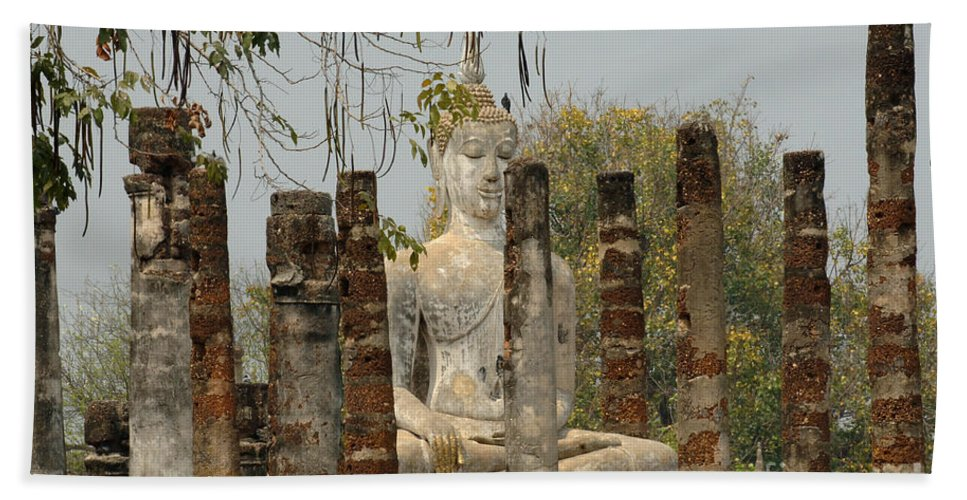 Sukhothai Bath Sheet featuring the photograph Buddha In Thailand by Bob Christopher