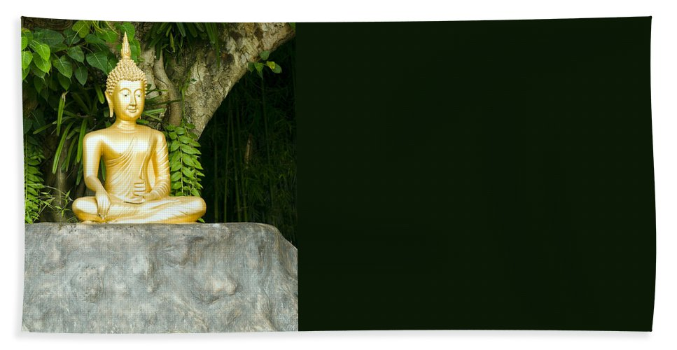 Beautiful Bath Sheet featuring the photograph Buddha Statue Under Green Tree In Meditative Posture by U Schade