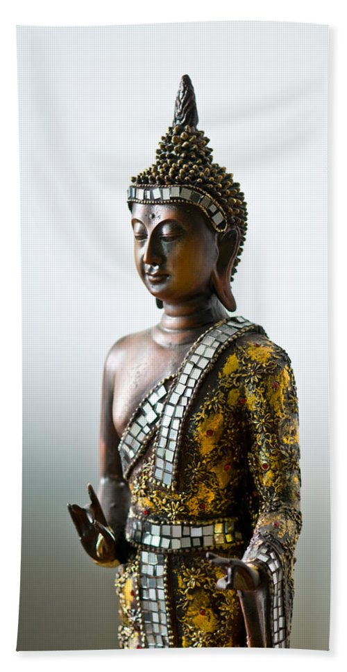 Ancient Bath Sheet featuring the photograph Buddha Statue With A Golden Robe by U Schade