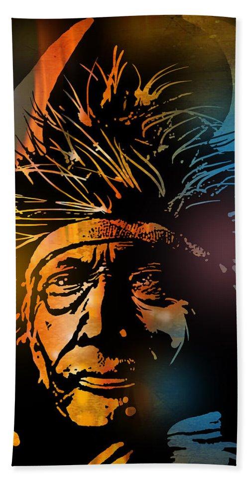 Native Americans Bath Sheet featuring the painting Buffalo Headdress by Paul Sachtleben