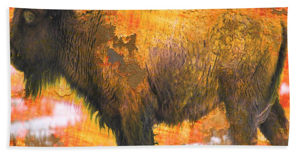 Abstract Hand Towel featuring the photograph Buffy by The Artist Project