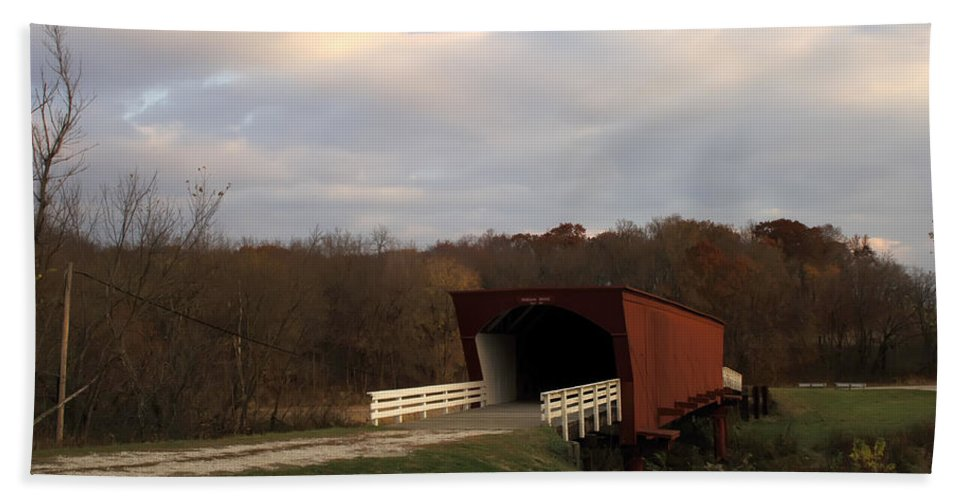 Covered Bridges Of Iowa Madison County Hand Towel featuring the photograph Built In 1883 Roseman Bridge by Randall Branham
