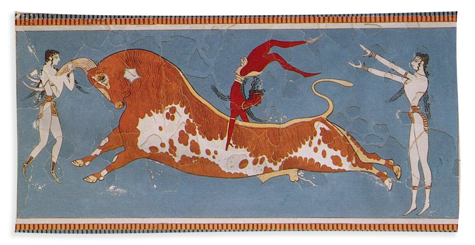 Figurative Art Bath Towel featuring the photograph Bull-leaping Fresco From Minoan Culture by Photo Researchers