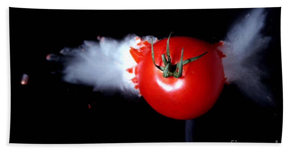 Bullet Hand Towel featuring the photograph Bullet Hitting A Tomato by Ted Kinsman