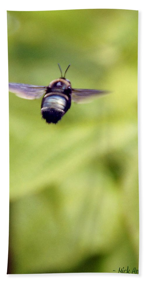 Bumblebee Hand Towel featuring the photograph Bumblebee Midair by Mick Anderson
