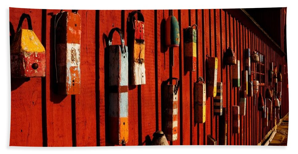 Rockport Bath Sheet featuring the photograph Rockport Buoy Wall - Greeting Card by Mark Valentine