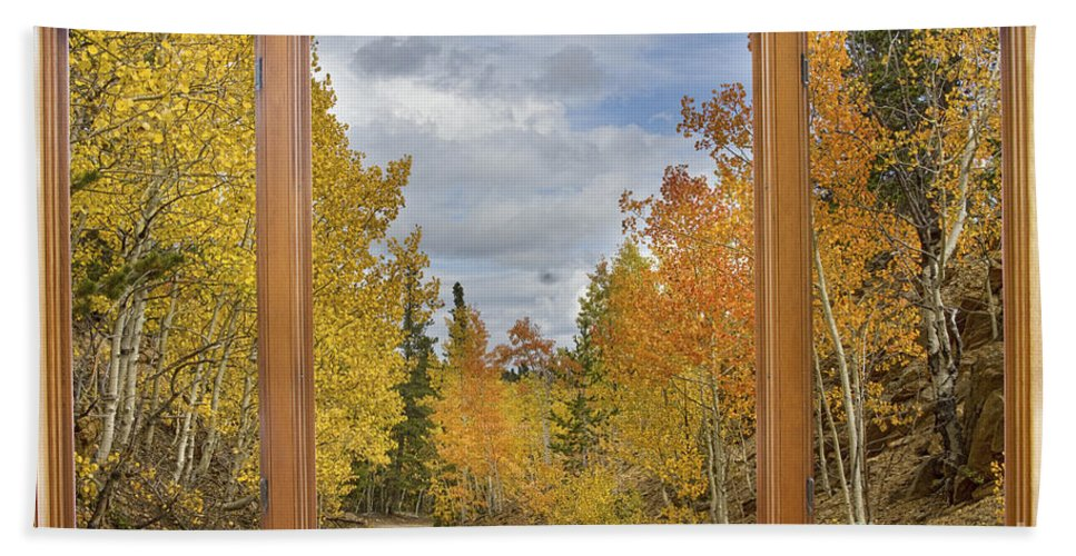 Windows Hand Towel featuring the photograph Burning Autumn Aspens Back Country Colorado Window View by James BO Insogna