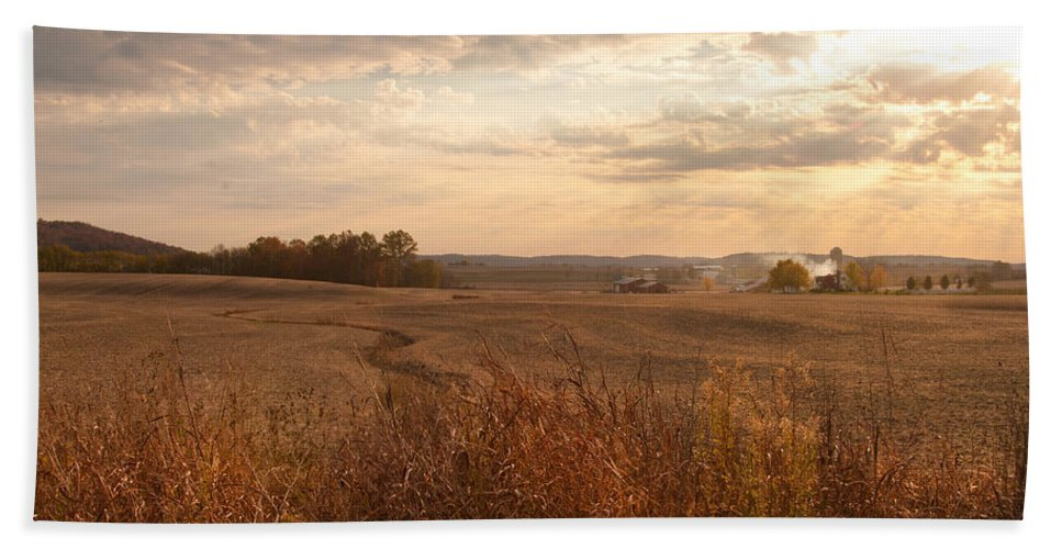 Farm Hand Towel featuring the photograph Burning Leaves On The Farm by Randall Branham