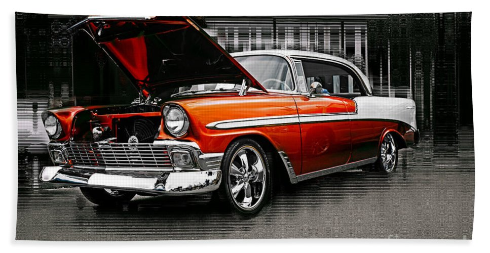 Old Cars Bath Sheet featuring the photograph Burnt Orange Chevy Abstract by Randy Harris