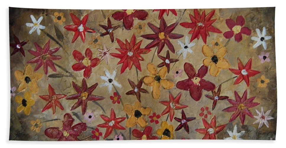 Flowers Hand Towel featuring the painting Burst Of Flowers Yellow And Red by Samantha Black