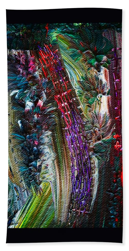 Abstract Hand Towel featuring the painting Bursting by Marie Jamieson