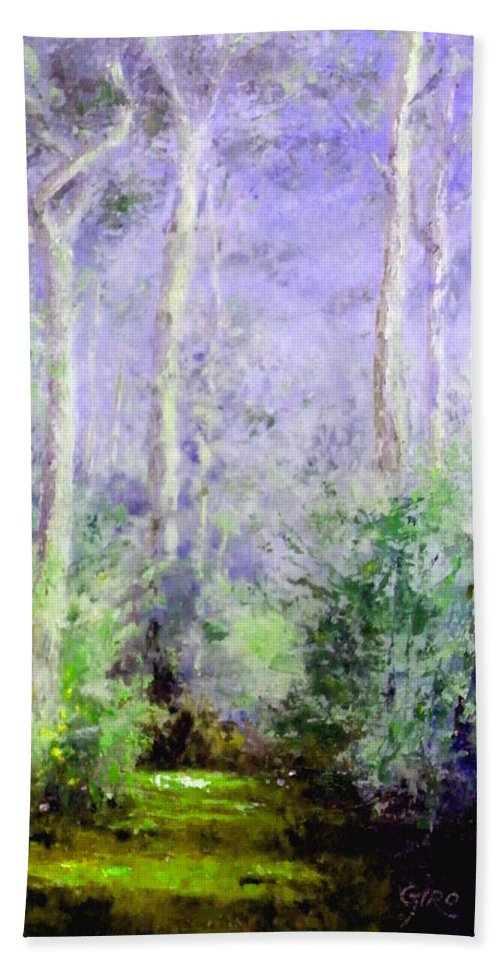 Australian Hand Towel featuring the painting Bush Trail At The Afternoon by Giro Tavitian