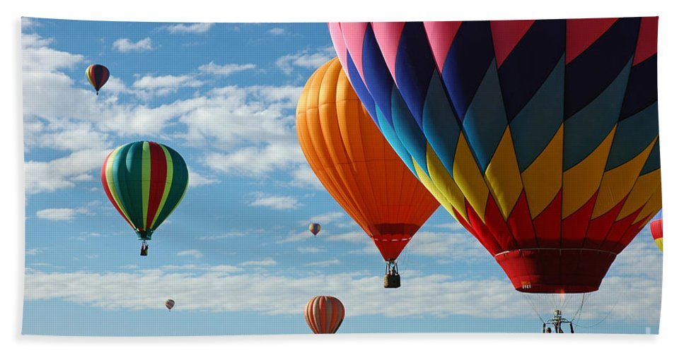 Hot Air Balloons Hand Towel featuring the photograph Busy Times by Vivian Christopher