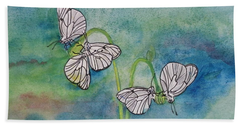 Butterfly Hand Towel featuring the painting Butterflies Hanging Out by Anna Ruzsan