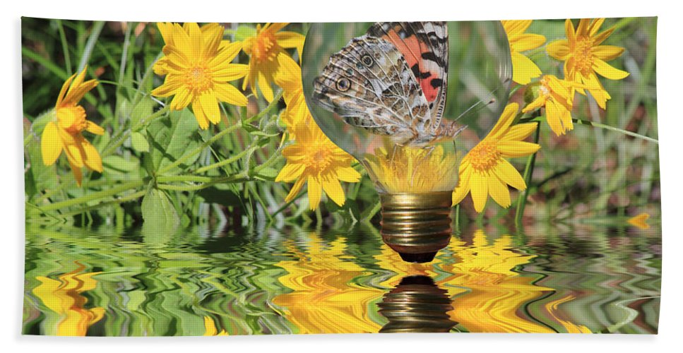 Butterfly Hand Towel featuring the photograph Butterfly In A Bulb II - Landscape by Shane Bechler